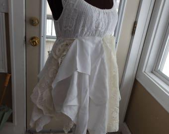 Tattered Lace dress, Romantic shabby chic,  boho lace tunic, White fairy dress, ballerina tops, Stevie Nicks dress, gypsy dress, Sz Small