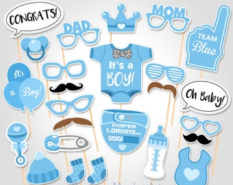 Baby Shower Photo Booth Props - Printable Photo Booth Props - It's a Boy Baby Photobooth Props - Team Blue Baby Boy Printable Party Props