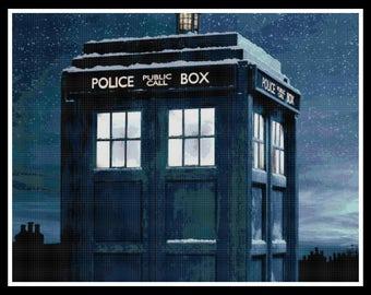 Dr Who Cross Stitch Pattern - Dr Who - Tardis Cross Stitch Pattern - PDF Download