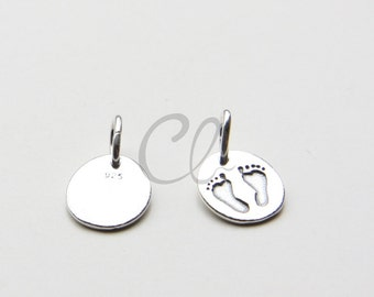 One Piece 925 Sterling Silver New Baby Charms - Baby Feet Print Charm - 10x11mm