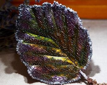 Copper Necklace Real Leaf Pendant