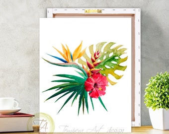 Tropical Botanical Wall Art- Modern Home Decor- Tropical Wall Art- Exotic Bird Of Paradise- Plant Wall Art, Tropical Art Canvas Print