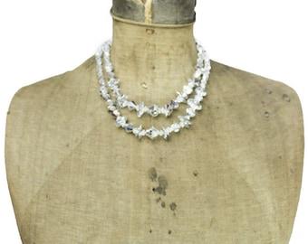 Vintage Crystal Necklace, Silver Crystal Necklace, Silver Necklace