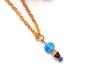 Necklace, stacking - Gold plated chain with gold/blue bead drop//Gift for her//Women//Jewellery//Beads//Charm//Layering//Blue//Gold plated