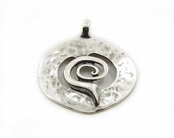 Round Swirl Pendant, Large Pendant, Metal Pendant, Antique Silver Swirl Pendant, Jewelry Making, DIY Pendant