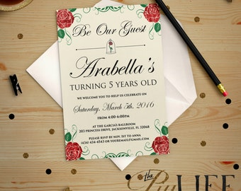Rose Beauty and the Beast Inspired Belle Princess Birthday Invitation Printable DIY No. I189 Black Friday Sale