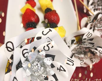 """Playing Card Flower Party Decor, 12"""" Long Skewer, Cake Flowers, Fruit Trays, Chocolate Fountain Sticks, Wedding, Casino Events, Vegas Themed"""