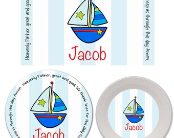 Personalized Kids Melamine Plate, Bowl and Placemat Set - Melamine Dinnerware Set - Mealtime Set - Kids Plate and Bowl Set - Sailboat