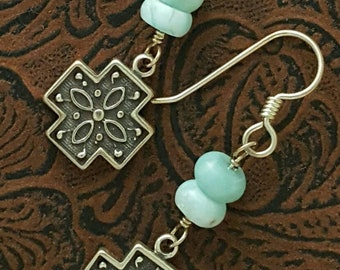 Larimar and Silver Cross Earrings, Gemstones, Ornate Sterling Silver Cross, Dangles, wirewrapped handmade jewelry, one of a kind