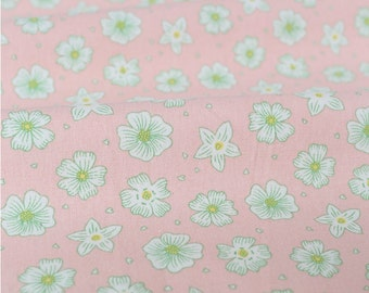 The Pink Flower Floral Pattern Linen Cotton Fabric , 58 inch / 145cm Width, Half Yard, R035