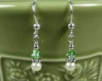 Green and Pearl Earrings - Pearl Earrings - Peridot Earrings - Green Earrings - Sterling Silver Earrings