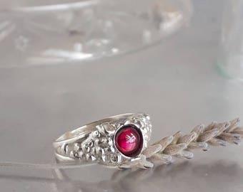 Garnet ring, Unique garnet ring, Israeli jewelry, Sterling silver red garnet ring, January birthstone ring, Red garnet ring, Grape ring