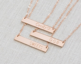Bar Necklcae,  Rose Gold Bar Necklace, Personalized Bar Necklace, Engrave Necklace, Monogram  Necklace,Custom name Necklace,Initial Necklace