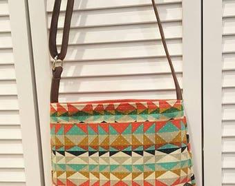 Crossbody bag, aztec purse, genuine leather, adjustable strap, crossbody leather bag, brown leather bag, aztec everyday bag READY TO SHIP