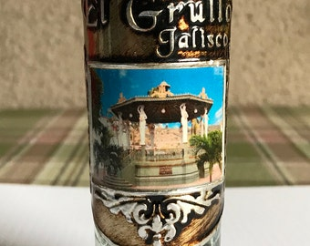 Collectible Vintage Tequila Souvenir Shot Glass from El Grullo, Jalisco