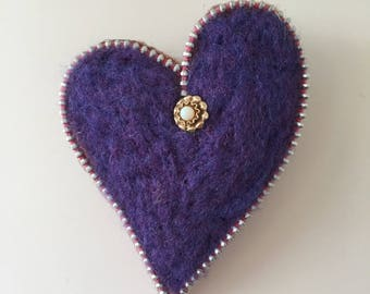 Needle Felted Heart Zipper Brooch, Dark Purple with Opal and Gold accent, Hat Pin, Lapel Pin, Ornament, Valentine's Day or Friendship Gift