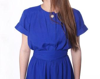 Vintage 80's  Bright Blue Summer Dress