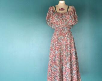 70s Bohemian Dress. Off the Shoulder. Cotton Midi Dress. 70s Sundress. Floral Cotton Dress. Garden Party Dress. Cotton Sundress
