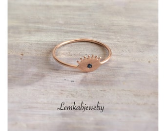 Evil Eye Ring in Rose Gold, Rose Gold Ring