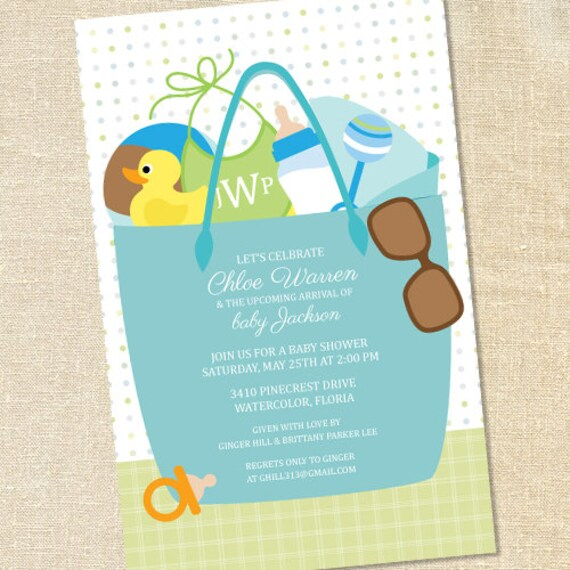Sweet wishes boys beach bag baby shower invitations printed filmwisefo Image collections