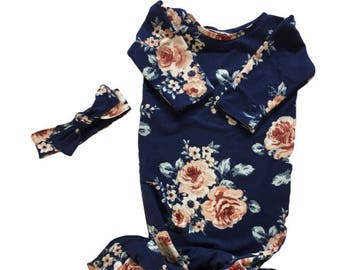 Boutique Baby Girl Layette Gown Sleeper Mermaid Inspired Newborn Great Baby Shower Gift Coming Home Outfit floral navy