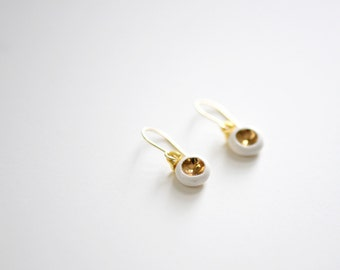 22k Gold Porcelain Barnacle Earrings - Wedding Jewelry, Ceramic White Earrings, Bridesmaids Gift, Nickel Free, 14k gold filled