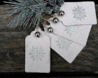 Pink gift tags with embossed snowflake, christmas labels, hang tags