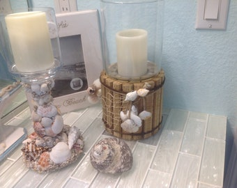 Wood hurricane candle holder with shells