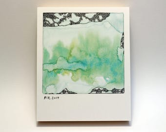 Polaroid #18 - tiny art - ready to hang - fine art series - contemporary art - scandinavian art - landscape - forest painting - dream art