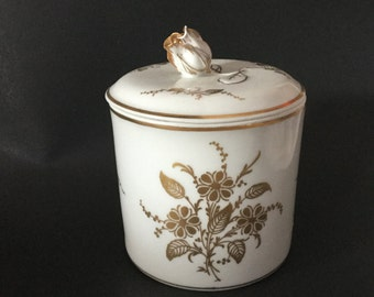 Vintage Bonwit Teller Decorative Porcelain Jar With Lid, Gold Floral Designs Made In Italy
