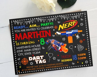 Dart Gun Birthday, Dart Gun Invitation, Dart Gun Birthday Invitation, Nerf Gun, Nerf Gun Party, Nerf Gun Birthday, Nerf Gun Invitation
