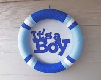 It's A Boy Blue and White Yarn Wreath - Baby Announcement Wreath - Baby Boy Wreath - Blue Yarn Wreath - Nursery Wreath - It's A Boy Wreath