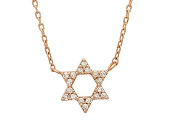 Diamond Star Pendant, Gold Star of David, Shield of David Necklace, Bat Mitzvah Gift