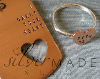 intertwine. COPPER dog tag  and sterling silver HEART ring