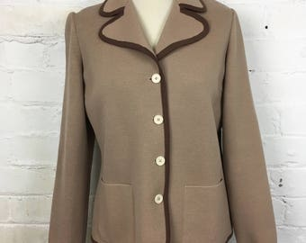1970's Classic Mod/Scooter Girl Tricoville Taupe/Beige/Brown, Wool Knit Cardigan/Jacket/Blazer. Made in England. UK Size 14-16