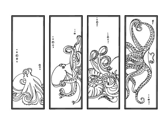 Octopus diy bookmarks printable coloring page adult Coloring books for adults near me