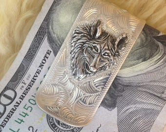 Money Clip with Silver Wolf Head Hand Engraved  Bright Cut Scroll Style made of Sterling Silver Overlay Gift For Men Handmade Father's Day