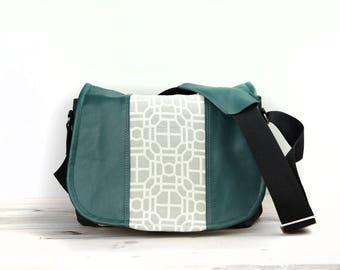 Handmade Leather Medium Camera Satchel Bag Gray and Jade Leather Asphalt Linen  DSLR- IN-STOCK