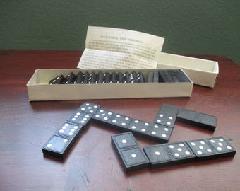 Domino Game, Vintage Black and White Game Pieces, Craft Supply