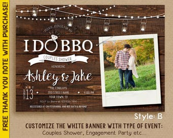 I DO BBQ Invitation / Couples Shower invitation / Engagement party / Digital File / with picture