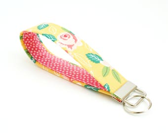 Yellow Floral Key Fob with Pink Dots - 5 Inch Key Ring - Key Chain - Cute Wristlet Loop - Short Lanyard Strap - Keychain - New Driver Gift