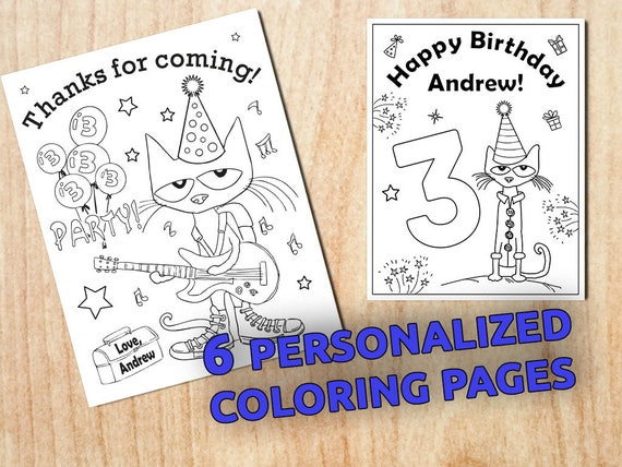 Custom Pete the Cat Party Coloring Pages / Personalized /
