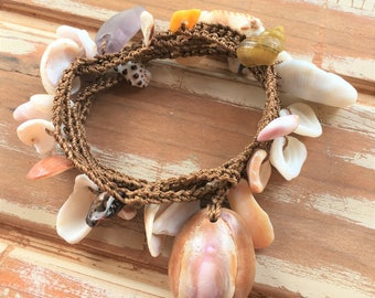Boho Molokai shell wrap bracelet, anklet or necklace with purple seaglass