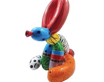 """Statue de chien """"Ballon Lapin"""" en résine, hauteur 31 centimètres, pour collection ou décoration"""