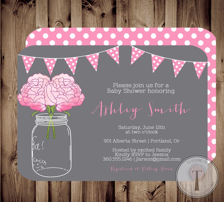 BABY GIRL Baby Shower Invitation baby shower invite mason jar baby