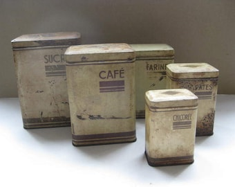 5 Vintage French fitting into each other storage containers, storage tins.