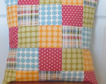 Make Life Patchwork Pillow Cover: Ready to ship, handmade, quilted, home decor, pillow cover, nursery decor, plaid, dots, red, blue, green