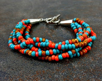 Seed Bead Bracelet, Turquoise, Coral, Chunky Bracelet, Multistrand Bracelet, Big Bracelet, Fashion, Mixed Color, Glass Bead Bracelet, Beaded