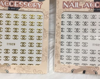 Nail Stickers Brand C Accessory 2 Sheets Gold and Silver