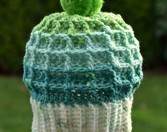 Crocheted Teal and Green Waffle Pom Pom Beanie Ready to Ship